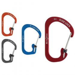 """Карабин алюминевый для ключей и предметов SlideLock Carabiner Aluminum с блокировкой, размер 3"""""""